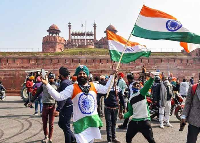Farmers at Red Fort Tractor Parade