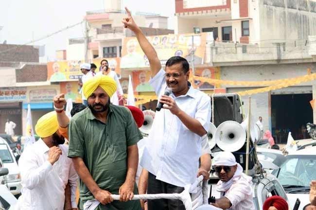 Bhagwant mann Kejriwal Road show