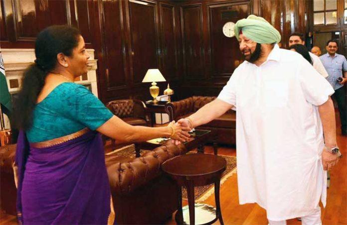 Amarinder Nirmala Sitharaman Handshake