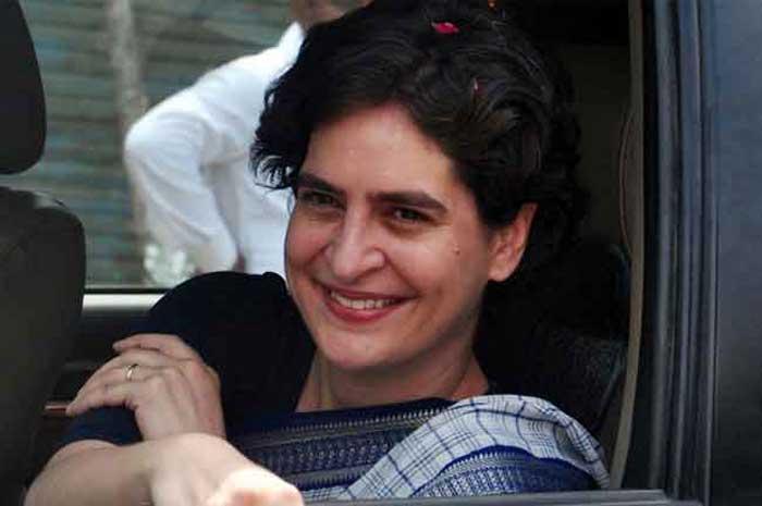 Priyanka Gandhi in car