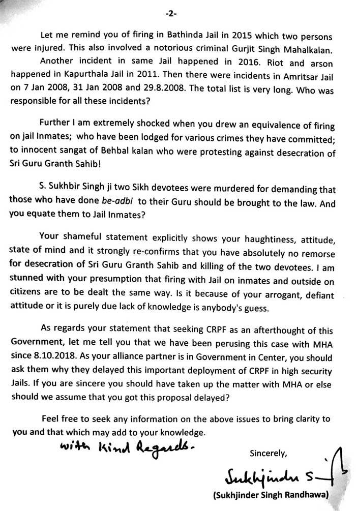 Sukhjinder Letter to Sukhbir 2