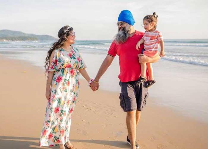 Amitpal Singh Bajaj Bandhna Kaur with kid