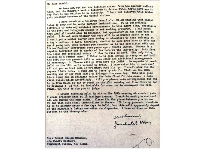 Jawaharlal Nehru letter to Bakshi Ghulam Mohamad