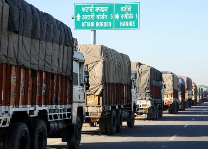 Trucks at Attari Wagah border