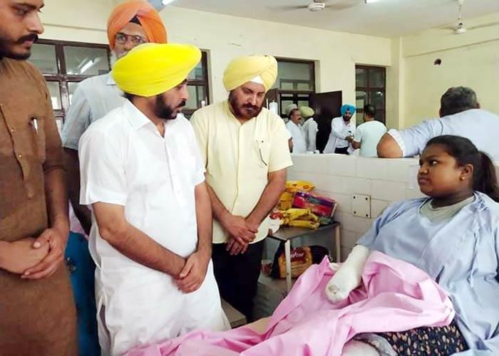 Bhagwant Mann meets Batala Blast victims