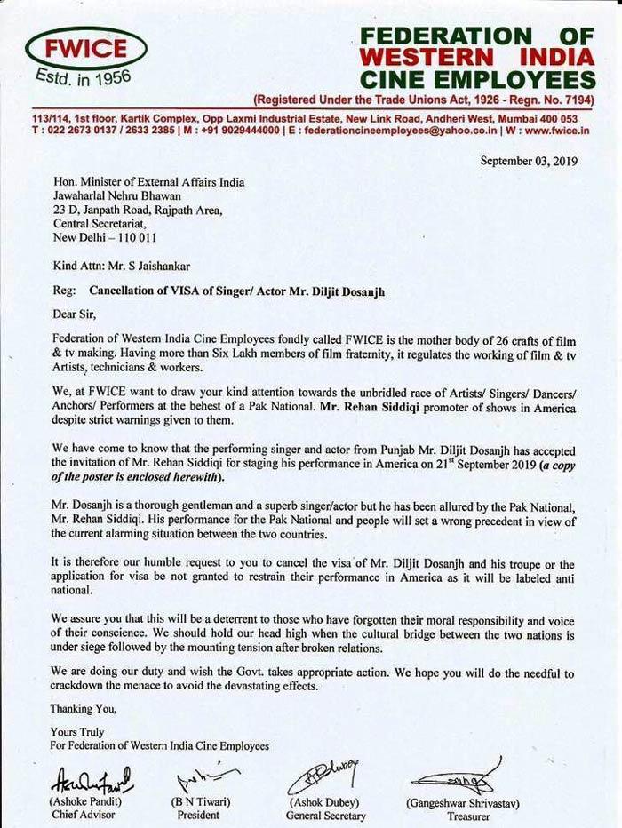 Daljit Dosanj Cancellation Visa Latter 3