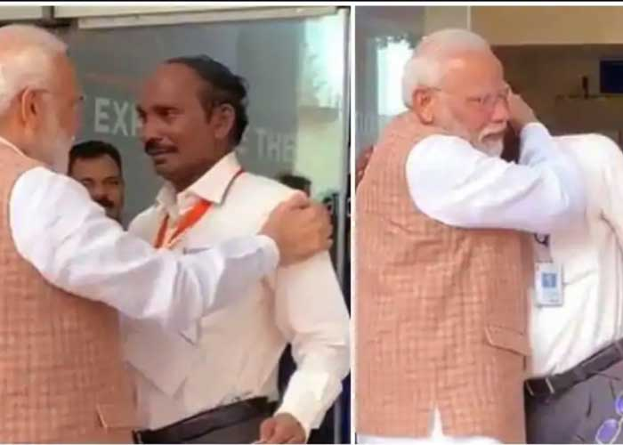 Modi hugging ISRO Chief K Sivan