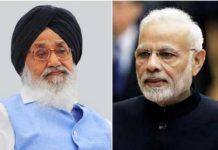 Parkash Singh Badal Narendra Modi