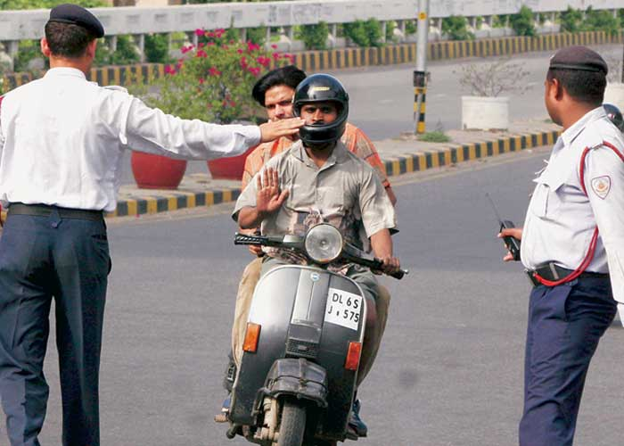 Traffic police stopping