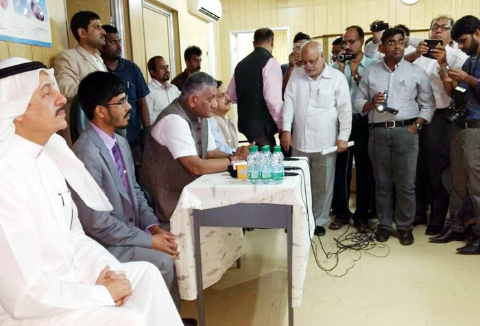 VK Singh visits camp of Indian workers
