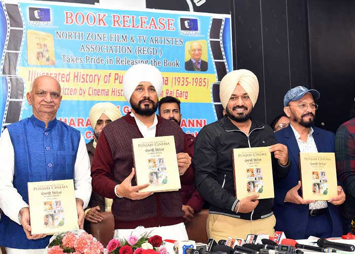 Image result for Charanjit Channi unveils Bhim Raj Garg's book 'The Illustrated history of Punjabi Cinema 1935-1985'