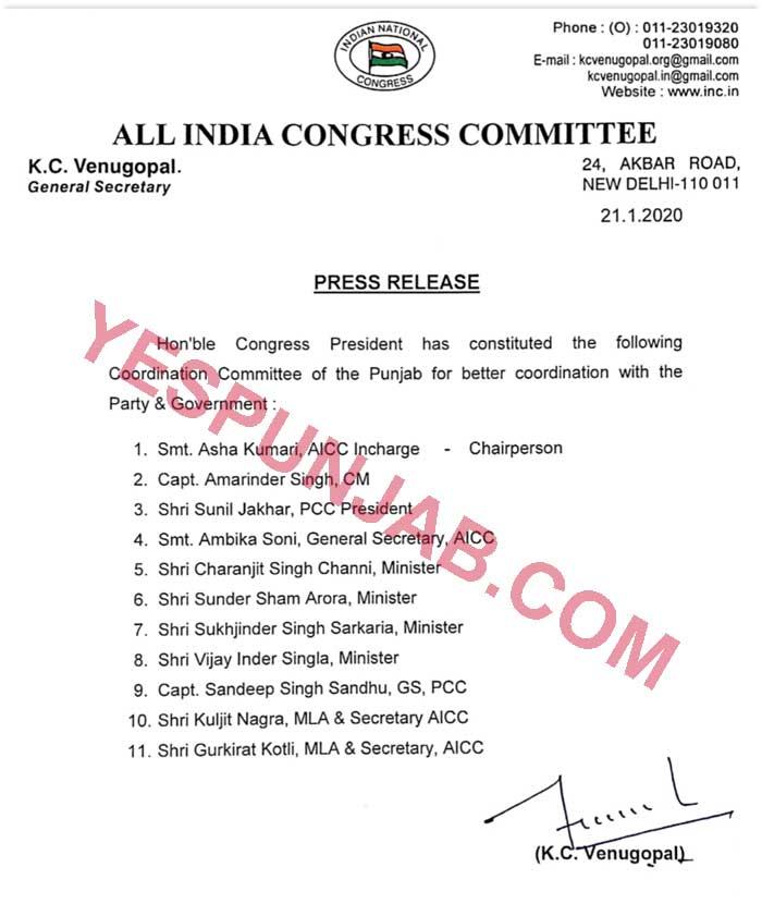 Congress Coordination Committee Members List