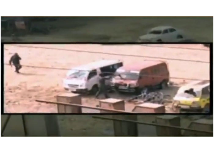 damaging cars in police uniform