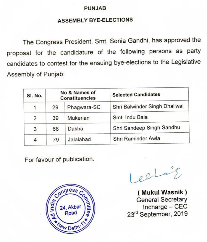 Congress Punjab Bypoll Candidates 2019