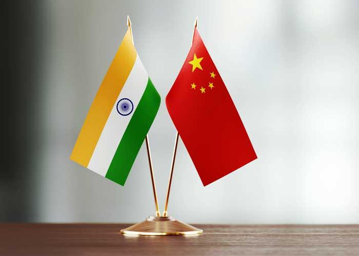 India China Table Flag