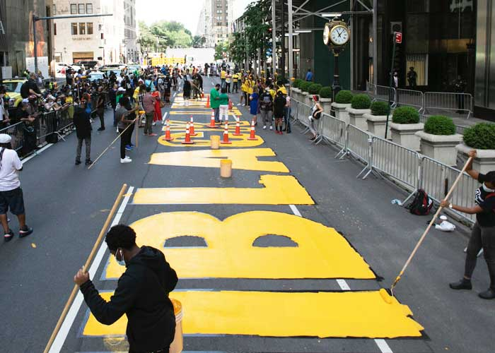 Black Lives Matter Paint Trump Tower NYC