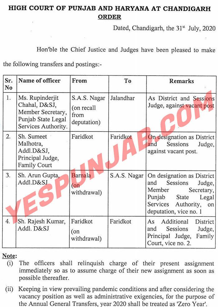 Punjab and Haryana HC order 310720