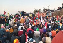 Farmers gathering at Singhu Border