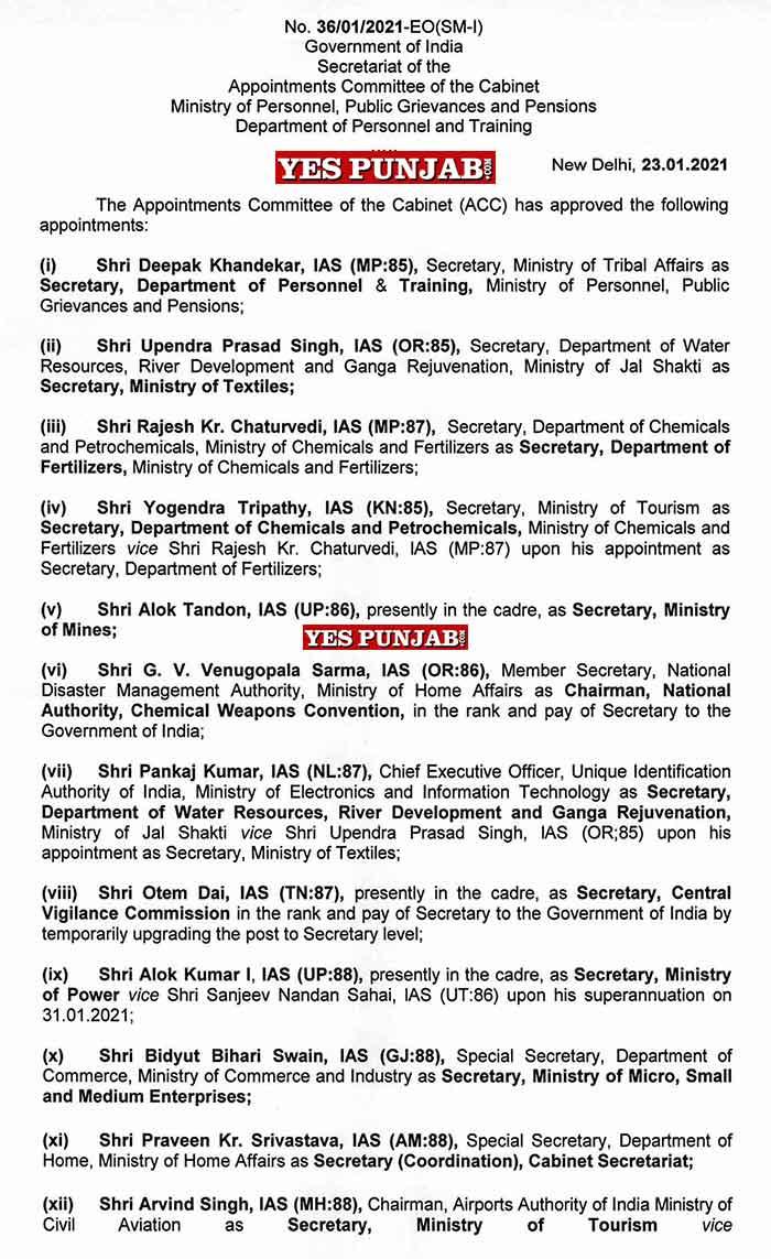 Centre Govt transfers 13 IAS officers 1
