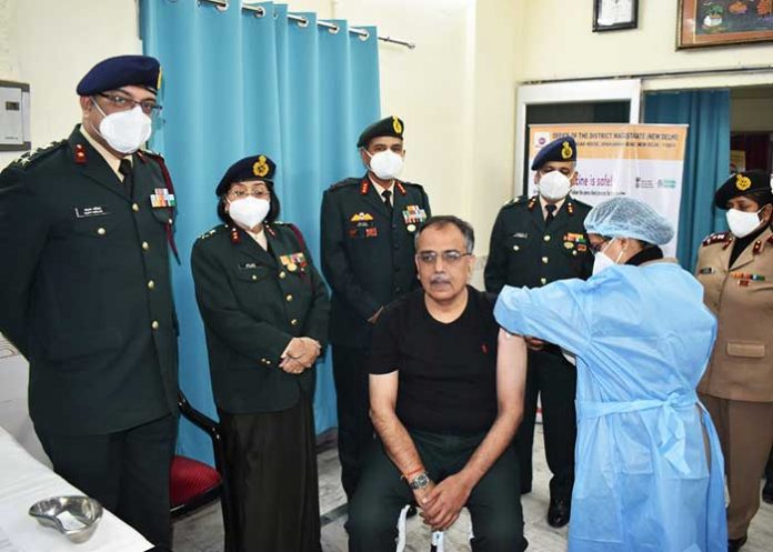 Indian Army officer get Covid vaccine shot