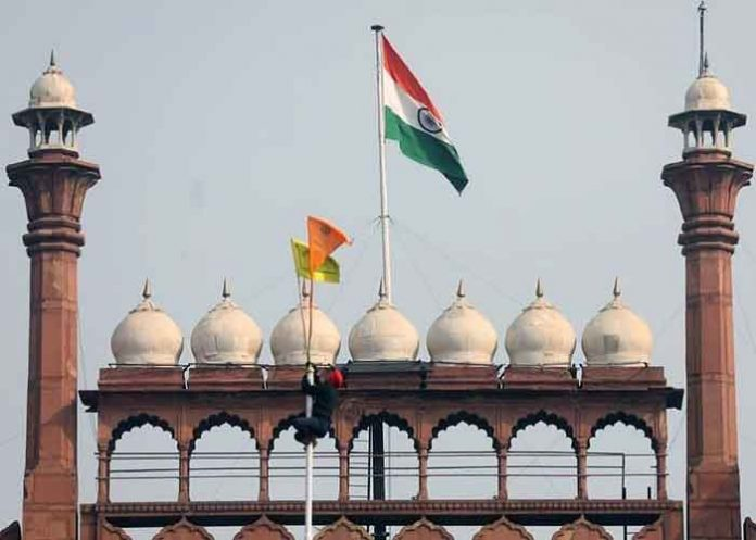 Nishan Sahib Kisan Flag at Red Fort