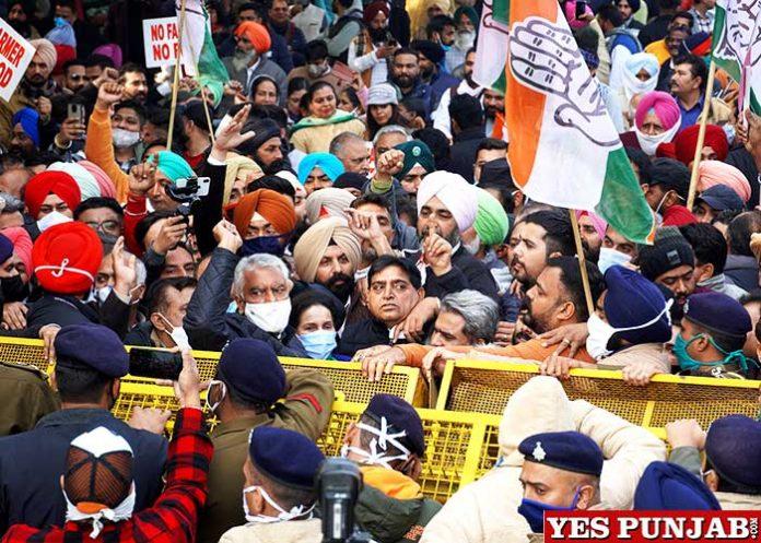 Punjab Congress March to Raj Bhawan against farm laws