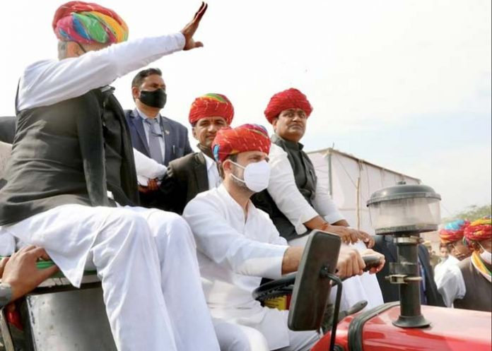 Rahul Gandhi drives tractor rally Rajasthan
