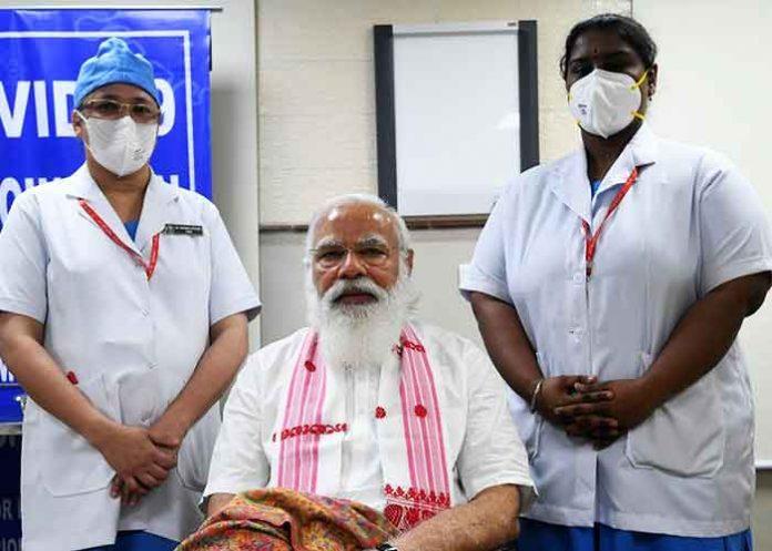 Narendra Modi vaccinated at AIIMS