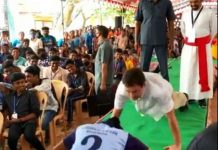 Rahul Gandhi takes push up challenge at Kanyakumari