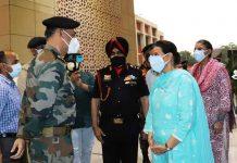Preneet during Western Command Covid Hosp opening Patiala