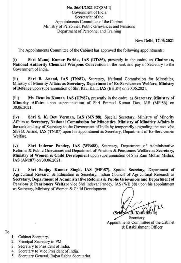 6 IAS Officers Transfers Chandigarh