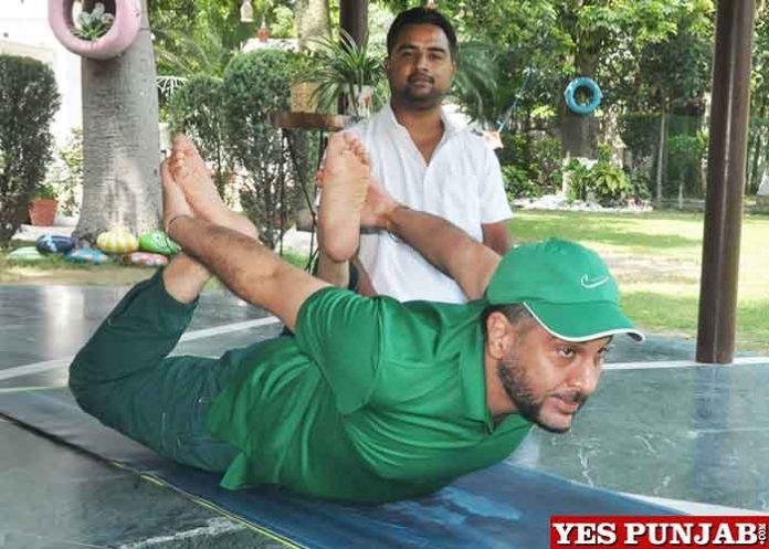 Gurpreet Singh Bhullar doing Yoga