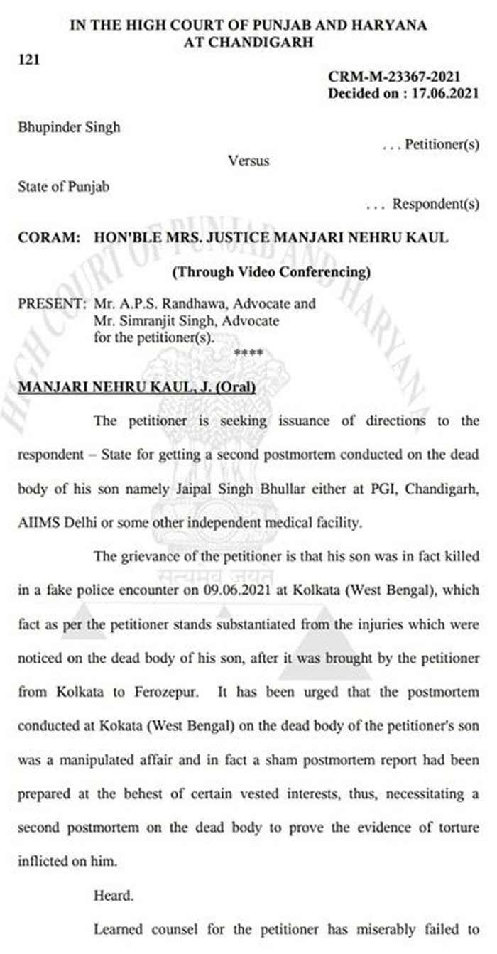 Jaipal Bhullar HC Order 1