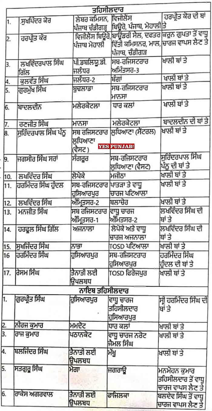 17 Tehsildar 12 Naib Tehsildars Transfers 1