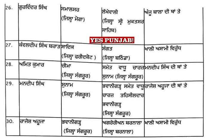 30 Naib Tehsildar Transfers 3Jul21 3