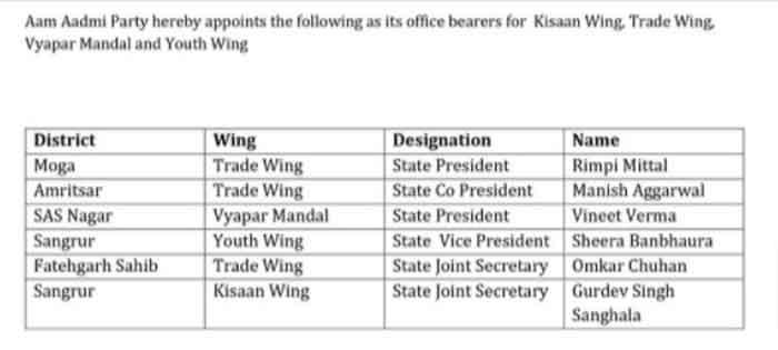 AAP Punjab Wings Officer Bearers List