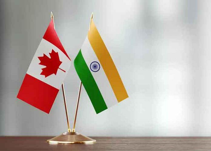 India Canada Table Flag