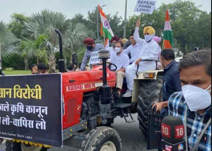 Rahul Gandhi ride Tractor Near Parliament