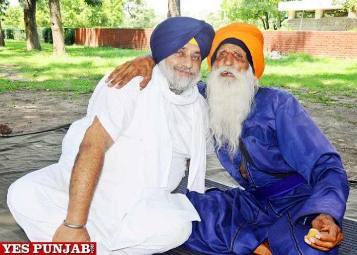 Sukhbir Badal meet Baba Labh Singh