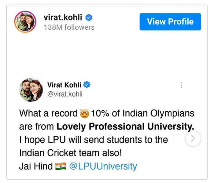 Virat Kohli tweet about LPU