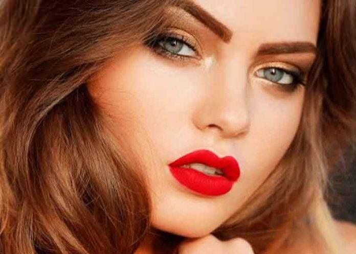 Woman Hair Red Lipstick