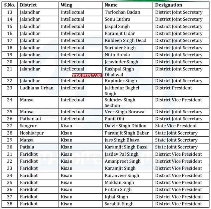 AAP Punjab Officer Bearers List 10