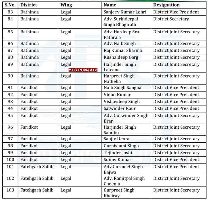 AAP Punjab Officer Bearers List 13