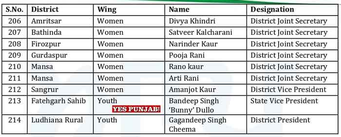 AAP Punjab Officer Bearers List 18