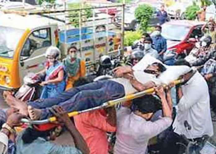 Ambulance stuck during President visit