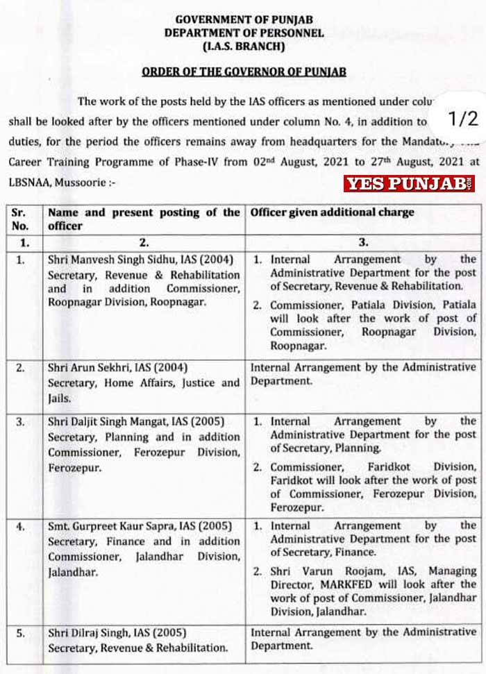 Punjab 5 IAS Additional Charge