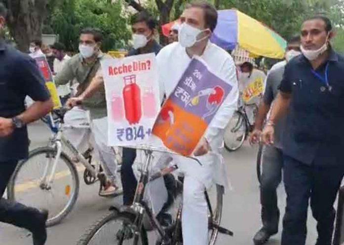 Rahul Gandhi ride bicycle to Parliament