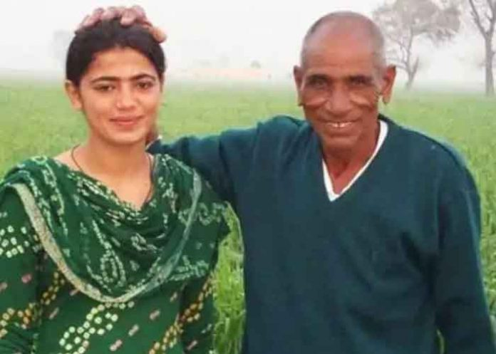 Savita Poonia with grandfather Ranjitram Poonia