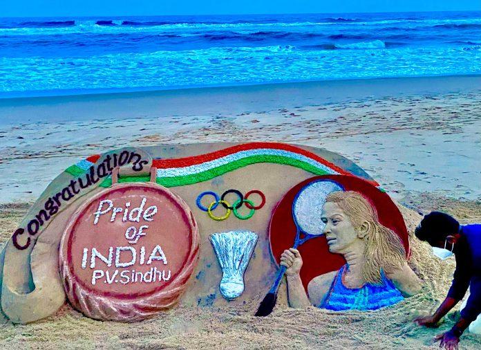 Sudarsan Pattnaik sand art for Sindhu