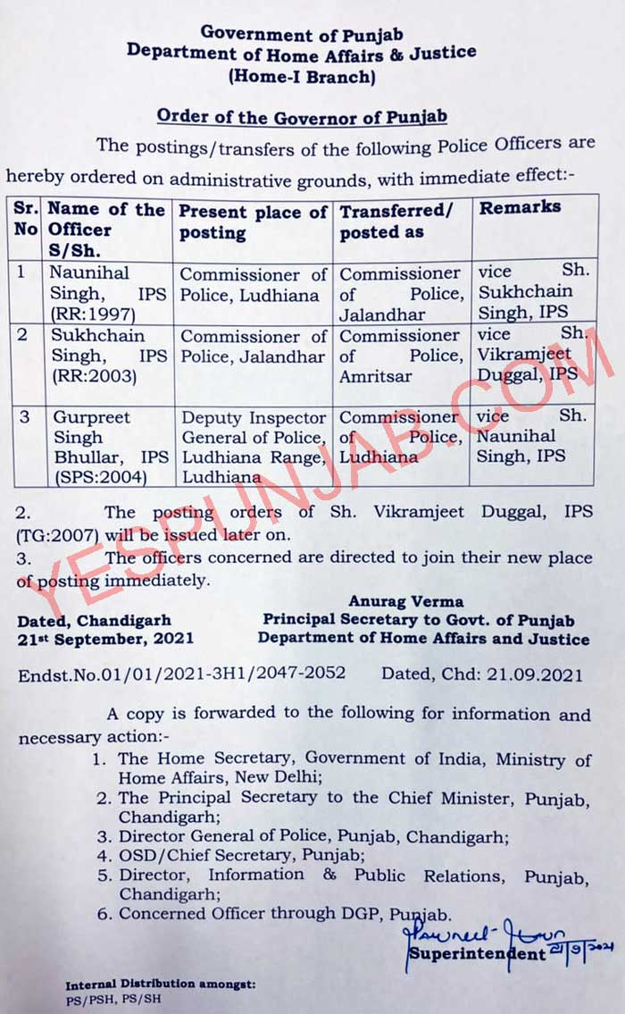 4 IPS Police Commissioners Transfers